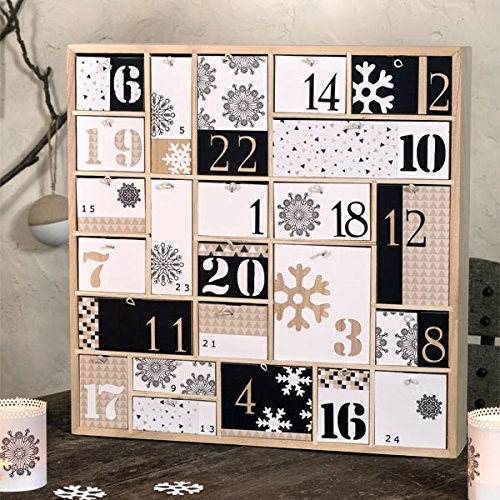 Wooden Advent Calendar With 23 Drawers In Different Sizes