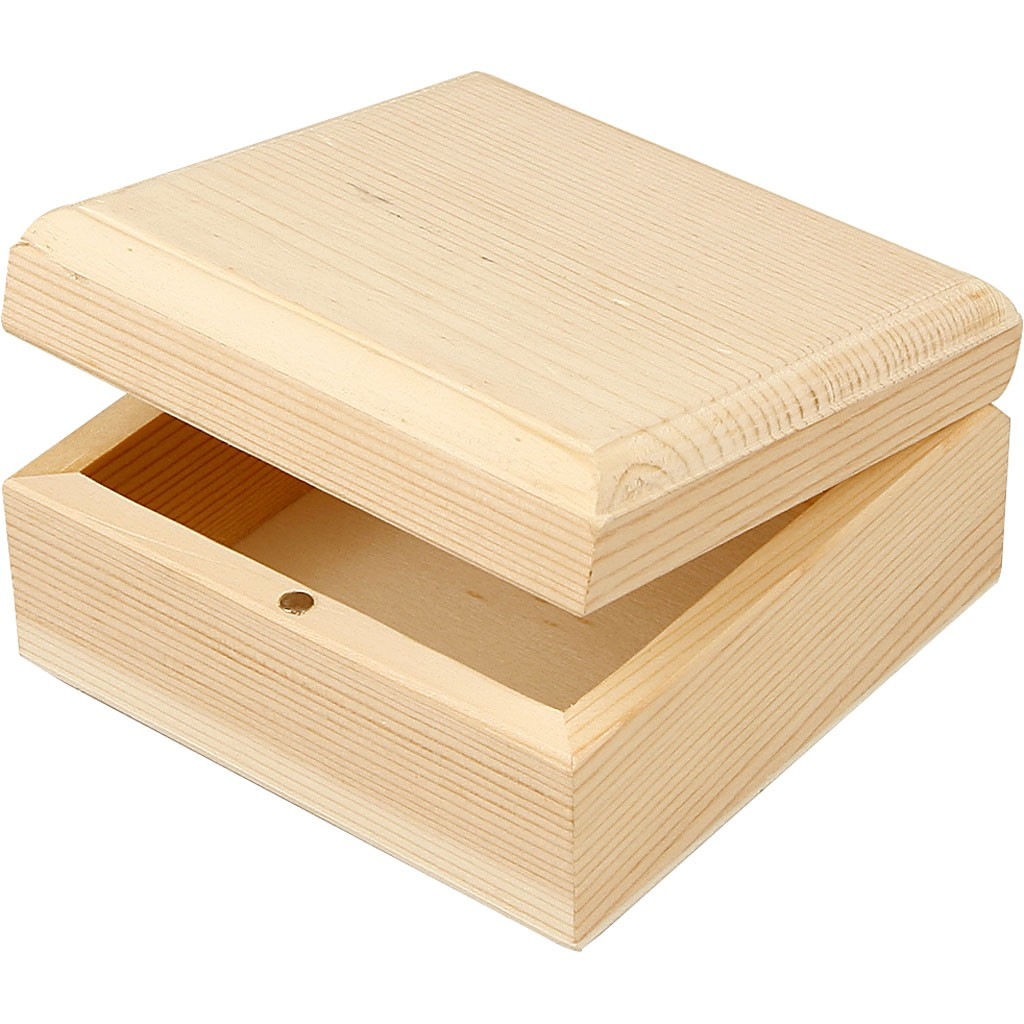 Wooden Box With Magnetic Clasp Closure 9cm X 9cm X 5cm