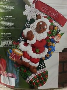 Bucilla Feltwork Stocking Santa Bear 86208 Hobbyworld Direct